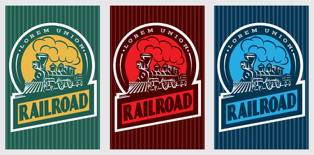A set of colorful retro posters with a vintage locomotive. Vector illustration Illustration