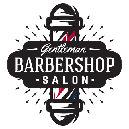Logo for barbershop with barber pole in vintage style. Vector template