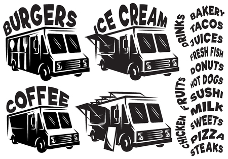 Set of vector mobile shops, vans, food trucks with various inscriptions. Ilustração
