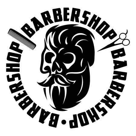Monochrome illustration with bearded skull for barbershop.