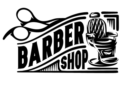 Stylish retro badge with scissors and armchair for barbershop. Illustration