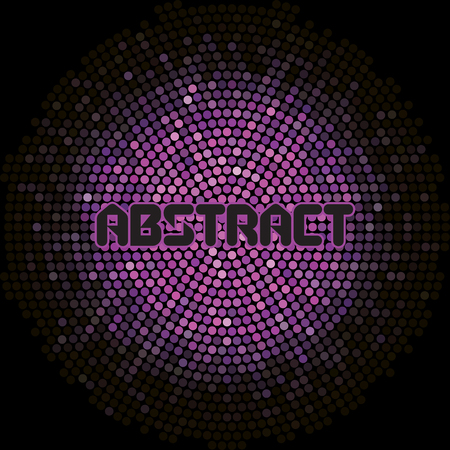 Futuristic abstract background with violet mosaic and inscription.