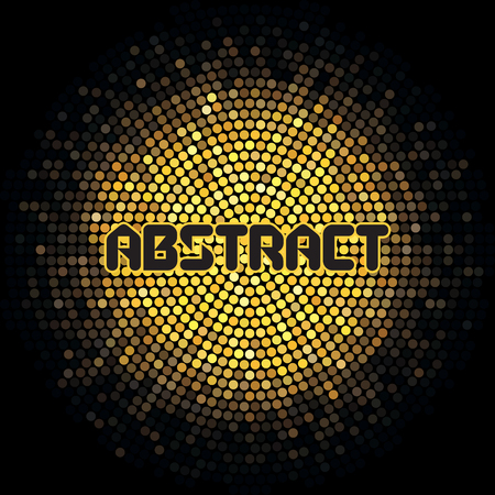 Futuristic abstract background with yellow mosaic and inscription.