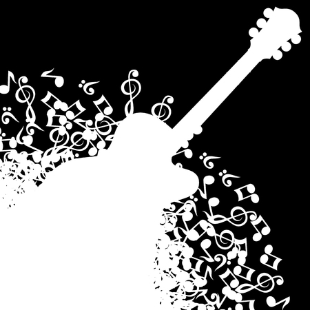 Abstract black background with guitar and notes.