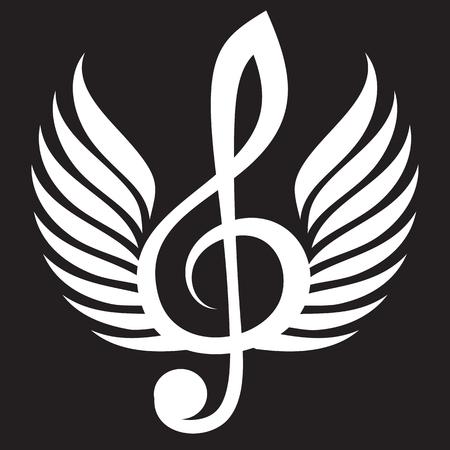 Chiave di violino bianca con ali. Archivio Fotografico - 81523146