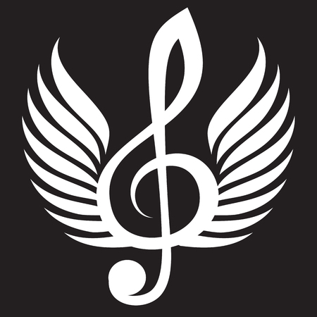 White treble clef with wings.