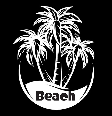 Palm tree and waves of a night beach. vector illustration.