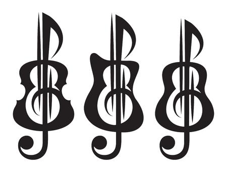 Different kinds of guitar, violin, treble clef. Vektor set of patterns for logo design.