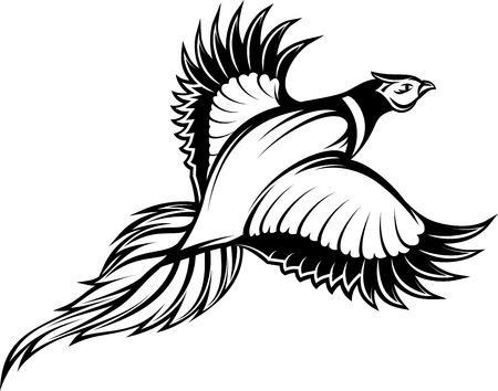 ベクトル キジを飛んでスタイリッシュなモノクロのイラスト。  イラスト・ベクター素材