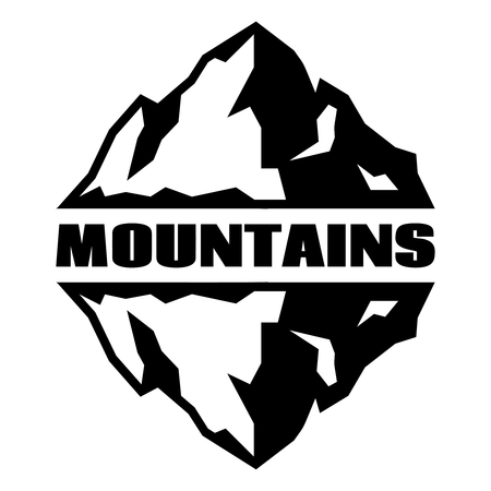 Monochrome pattern with three mountains. Vector illustration.