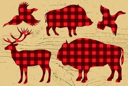 template for restaurant menu with pheasant, boar, bison, deer, duck