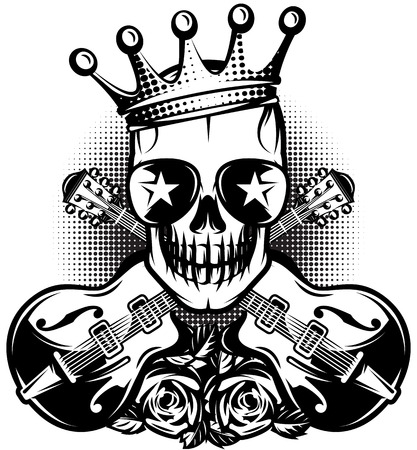 heavy metal: Monochrome pattern with guitar, skull, crown for concert advertisement. The vector illustration