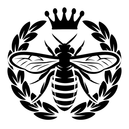 Vector pattern with flying bee and crown.