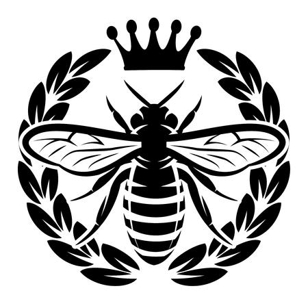 Wektor wzór z latająca pszczoła i korona.