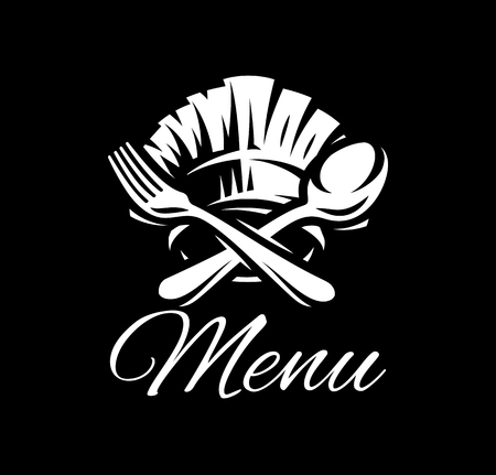 Black vector template with fork, spoon and cap for menu. Illustration