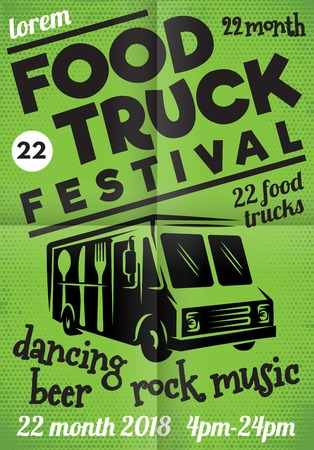 Poster for street festival of fast food with wagon on green background.