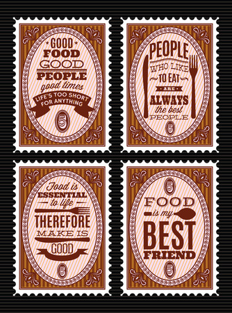 Set of vintage style postage stamps with citations on food theme.