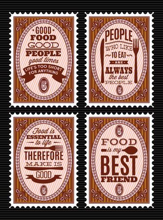 Zestaw znaczków pocztowych stylu vintage z cytatów na temat żywności.