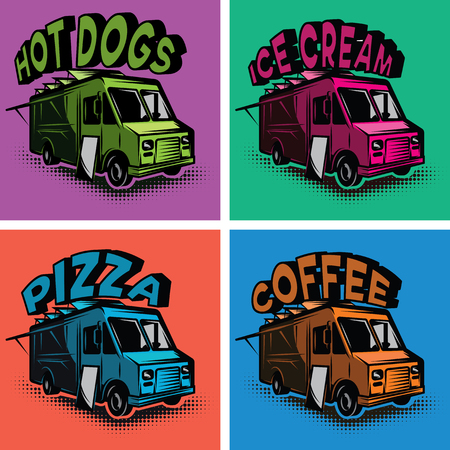 Set of multicolored templates for fast food cars.