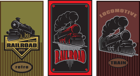 Set of colorful posters with a vintage locomotive design illustration.