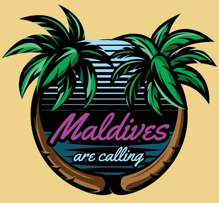 Template for logo on the theme of tourism with a palm trees. Logo