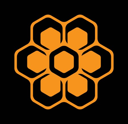 vector template for emblem with bee honeycombs.