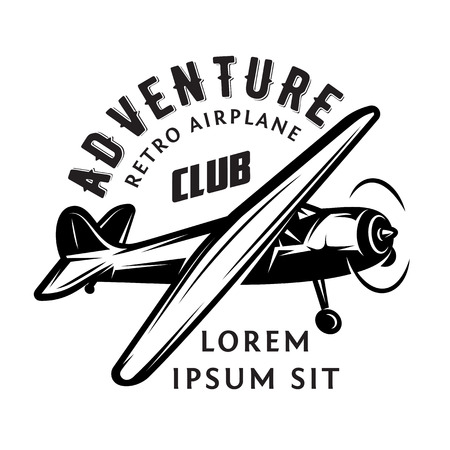vector monochrome illustration with airplane for adventure. Illustration