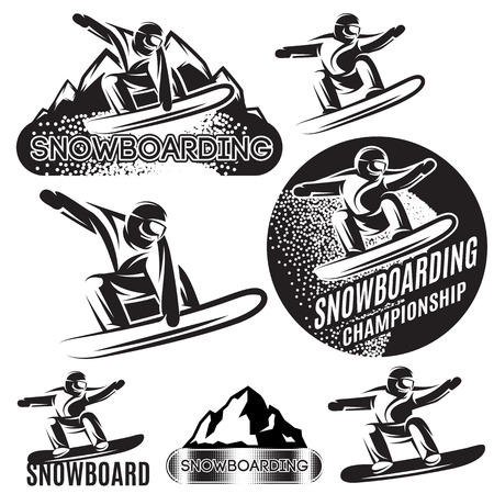 Set of  sports templates with various snowboarders