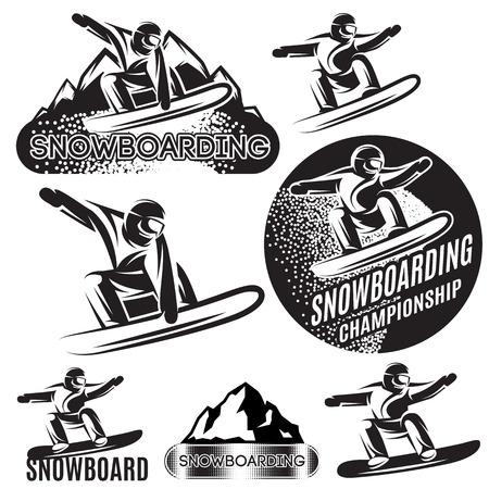 Set van sport-sjablonen met verschillende snowboarders Stock Illustratie