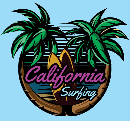 color vector template with palm trees on the ocean coast and surf boards.
