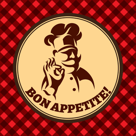 vector background for menu with chef and inscription bon appetite.