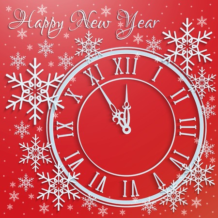 greetings card for the new year with snowflakes and watches.