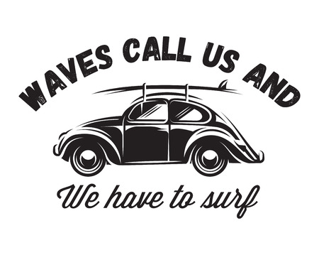 Monochrome vector badge with car for traveling to the ocean. Illustration