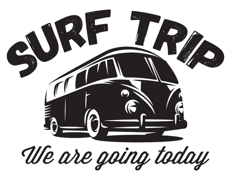 monochrome vector badge with a bus for traveling to the ocean.