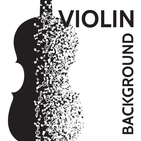 vector abstract background with violin and notes.  イラスト・ベクター素材