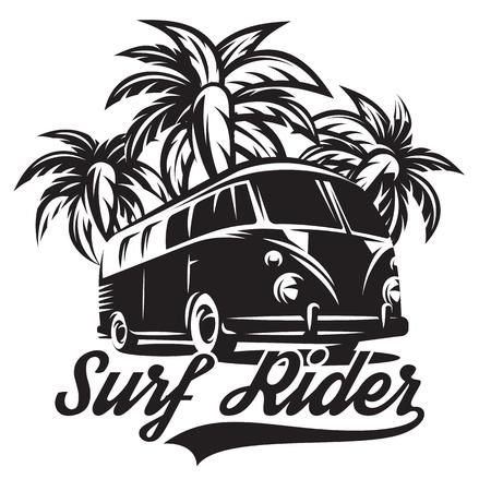 Illustratie op een thema van surfen met drie palmbomen.