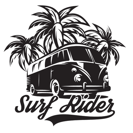 Illustration on a theme of surfing with three palm trees. Illustration