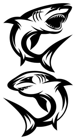 two monochrome vector illustrations with different sharks.