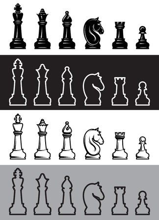Four sets of chess icons. Vector illustration.