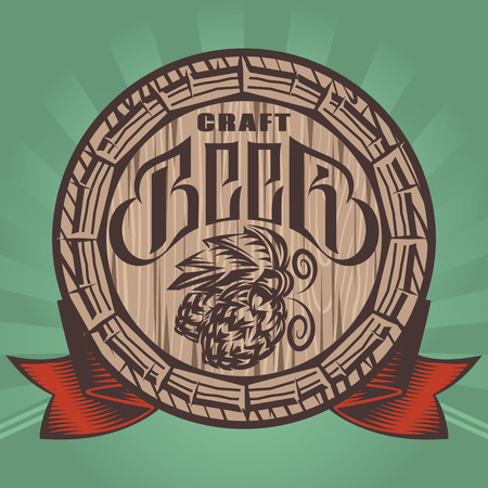 vector color illustration with beer barrel and hop.