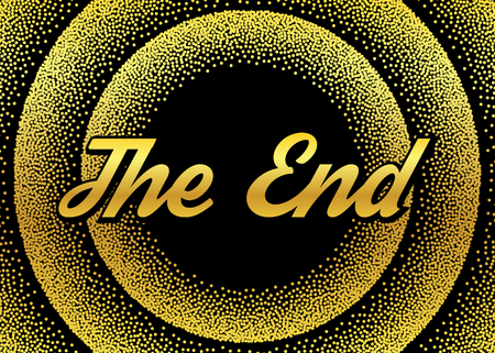 The gold End screensaver in retro stypple style.