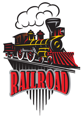Emblem in vintage style with locomotives vector illustration. Label, badge, pattern on a retro railroad theme.