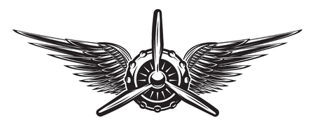 Monochrome retro banner with propeller and wings. Vector illustration. Vettoriali