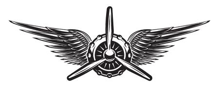Retro bandiera monocromatica con elica e ali. Illustrazione vettoriale