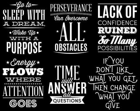 vector set of stylized retro-styled quotations on coaching theme. Vetores