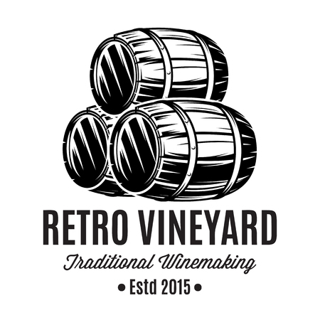 Monochrome illustrations with three barrels for alcoholic beverages. Vectores