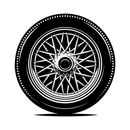 Retro-Radspeichen für ein Motorrad oder Auto. Monochrome Vektorgrafik. Vorlage für die Gestaltung. Vektorgrafik