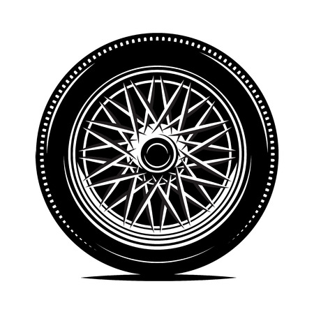 Retro wheel spokes for a motorcycle or car. Vector monochrome illustration. Template for design.