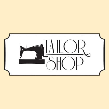 Retro style emblem with sewing machine. Vector monochrome illustration. Ilustracje wektorowe