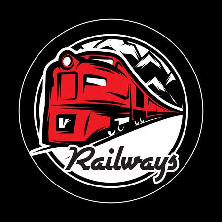 Monochromatyczny wzór do projektowania z pociągiem na szynach. Skalowalna ilustracja wektorowa.